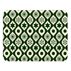 Green Ornate Christmas Pattern Double Sided Flano Blanket (large)  by patternstudio