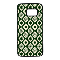 Green Ornate Christmas Pattern Samsung Galaxy S7 Black Seamless Case by patternstudio