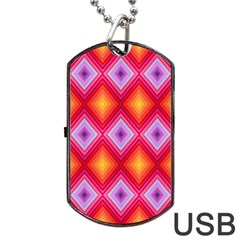 Texture Surface Orange Pink Dog Tag Usb Flash (one Side) by Celenk