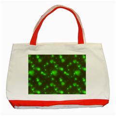 Neon Green Bubble Hearts Classic Tote Bag (red) by PodArtist