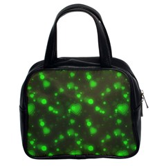 Neon Green Bubble Hearts Classic Handbags (2 Sides)