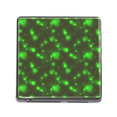 Neon Green Bubble Hearts Memory Card Reader (square) by PodArtist