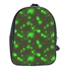 Neon Green Bubble Hearts School Bag (xl) by PodArtist