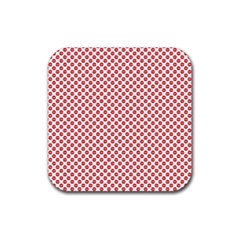 Sexy Red And White Polka Dot Rubber Coaster (square)  by PodArtist