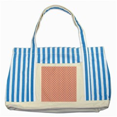 Sexy Red And White Polka Dot Striped Blue Tote Bag by PodArtist