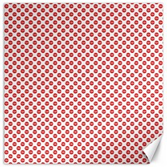 Sexy Red And White Polka Dot Canvas 12  X 12