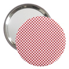 Sexy Red And White Polka Dot 3  Handbag Mirrors by PodArtist