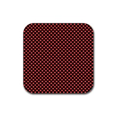 Sexy Red And Black Polka Dot Rubber Coaster (square)  by PodArtist