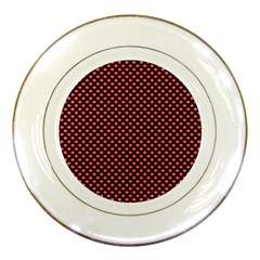 Sexy Red And Black Polka Dot Porcelain Plates by PodArtist