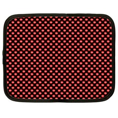 Sexy Red And Black Polka Dot Netbook Case (large) by PodArtist