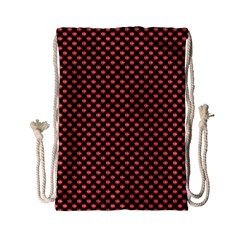 Sexy Red And Black Polka Dot Drawstring Bag (small) by PodArtist