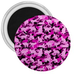 Hot Pink Catmouflage Camouflage 3  Magnets by PodArtist