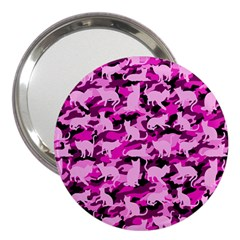Hot Pink Catmouflage Camouflage 3  Handbag Mirrors by PodArtist