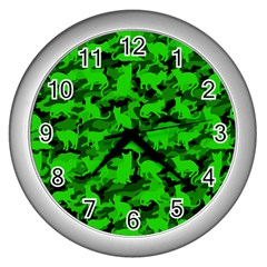 Bright Neon Green Catmouflage Wall Clocks (silver)  by PodArtist