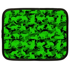 Bright Neon Green Catmouflage Netbook Case (large) by PodArtist