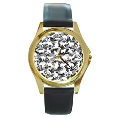 Black And White Catmouflage Camouflage Round Gold Metal Watch by PodArtist