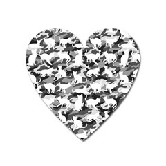 Black And White Catmouflage Camouflage Heart Magnet by PodArtist