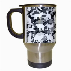 Black And White Catmouflage Camouflage Travel Mugs (white) by PodArtist