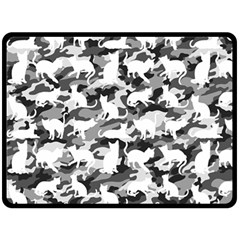 Black And White Catmouflage Camouflage Fleece Blanket (large)