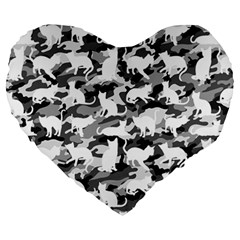 Black And White Catmouflage Camouflage Large 19  Premium Heart Shape Cushions by PodArtist