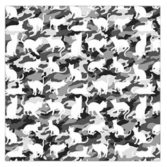 Black And White Catmouflage Camouflage Large Satin Scarf (square) by PodArtist