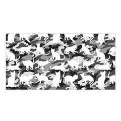 Black And White Catmouflage Camouflage Satin Shawl by PodArtist