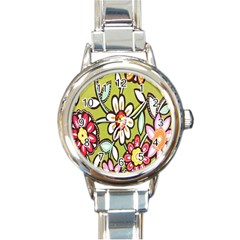 Flowers Fabrics Floral Design Round Italian Charm Watch by Celenk