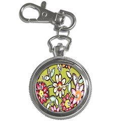 Flowers Fabrics Floral Design Key Chain Watches by Celenk