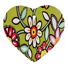 Flowers Fabrics Floral Design Heart Ornament (two Sides) by Celenk