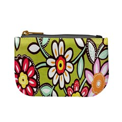 Flowers Fabrics Floral Design Mini Coin Purses