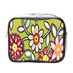 Flowers Fabrics Floral Design Mini Toiletries Bags by Celenk
