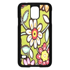 Flowers Fabrics Floral Design Samsung Galaxy S5 Case (black) by Celenk
