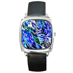Abstract Background Blue White Square Metal Watch by Celenk