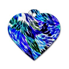 Abstract Background Blue White Dog Tag Heart (two Sides)