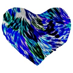 Abstract Background Blue White Large 19  Premium Flano Heart Shape Cushions by Celenk