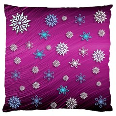 Snowflakes 3d Random Overlay Large Flano Cushion Case (two Sides) by Celenk