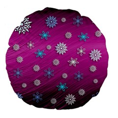 Snowflakes 3d Random Overlay Large 18  Premium Flano Round Cushions by Celenk