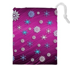 Snowflakes 3d Random Overlay Drawstring Pouches (xxl) by Celenk