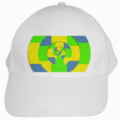 Fabric 3d Geometric Circles Lime White Cap