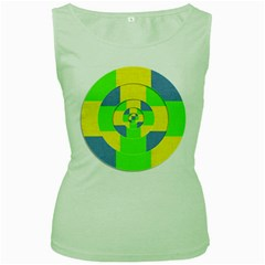 Fabric 3d Geometric Circles Lime Women s Green Tank Top by Celenk