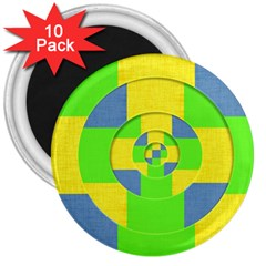 Fabric 3d Geometric Circles Lime 3  Magnets (10 Pack)