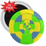 Fabric 3d Geometric Circles Lime 3  Magnets (10 pack)  Front