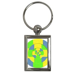 Fabric 3d Geometric Circles Lime Key Chains (rectangle)