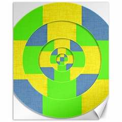 Fabric 3d Geometric Circles Lime Canvas 11  X 14   by Celenk