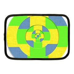 Fabric 3d Geometric Circles Lime Netbook Case (medium)  by Celenk