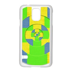 Fabric 3d Geometric Circles Lime Samsung Galaxy S5 Case (white) by Celenk