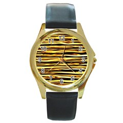 Texture Wood Wood Texture Wooden Round Gold Metal Watch by Celenk