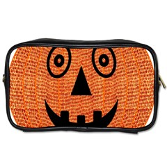 Fabric Halloween Pumpkin Funny Toiletries Bags 2 Side by Celenk