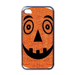 Fabric Halloween Pumpkin Funny Apple Iphone 4 Case (black) by Celenk