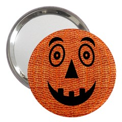 Fabric Halloween Pumpkin Funny 3  Handbag Mirrors by Celenk